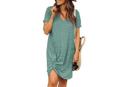 Knotted jurk voor dames | Leuk kort zomerjurkje met knoop Groen