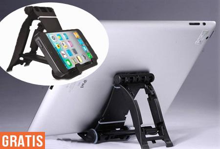 Handige telefoon en tablet standaard t.w.v. €19,95 nu GRATIS!