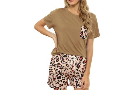 Summer shortama voor dames   Korte zomer pyjama in 9 verschillende prints Luipaard - Beige