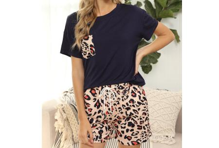 Summer shortama voor dames   Korte zomer pyjama in 9 verschillende prints Luipaard - Blauw