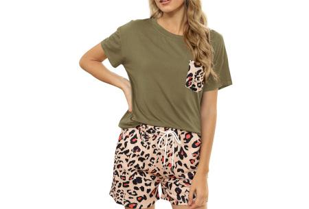 Summer shortama voor dames   Korte zomer pyjama in 9 verschillende prints Luipaard - Groen