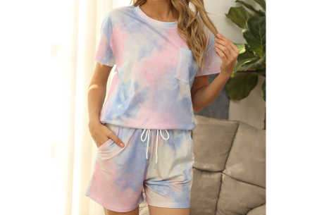 Summer shortama voor dames   Korte zomer pyjama in 9 verschillende prints Multicolor - Blauw
