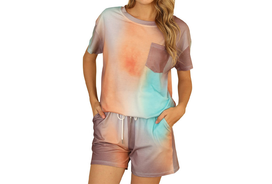 Summer shortama voor dames Maat 2XL - Multicolor - Oranje