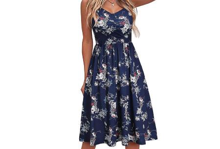 Spaghetti dress | Mouwloze zomerjurk in 6 prints Bloemen - Blauw