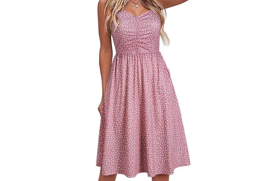 Spaghetti dress - Polkadot - Roze - Maat S/M