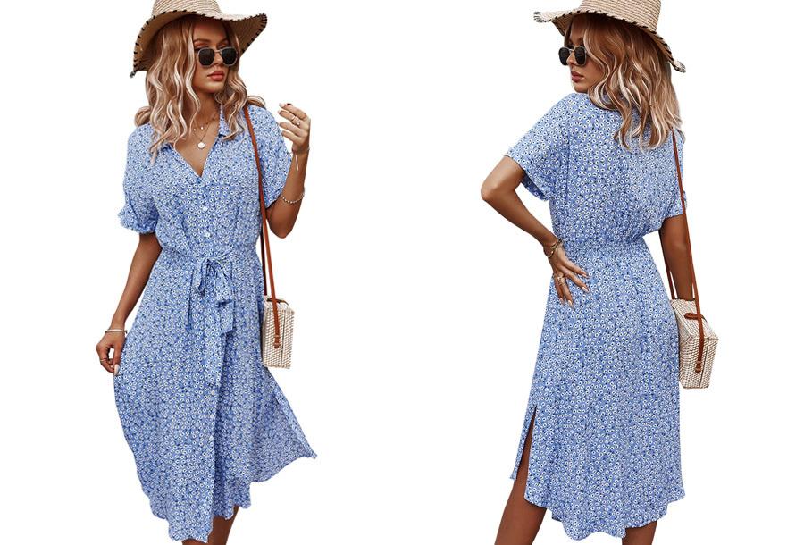 Flower jurk Maat XL - Blauw