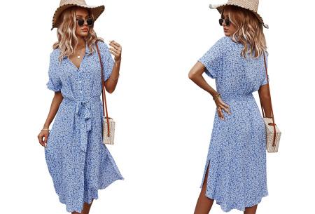 Flower jurk | Luchtige lange jurk met bloemenprint Blauw