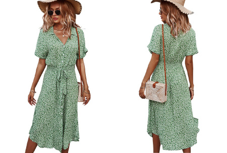Flower jurk | Luchtige lange jurk met bloemenprint Groen