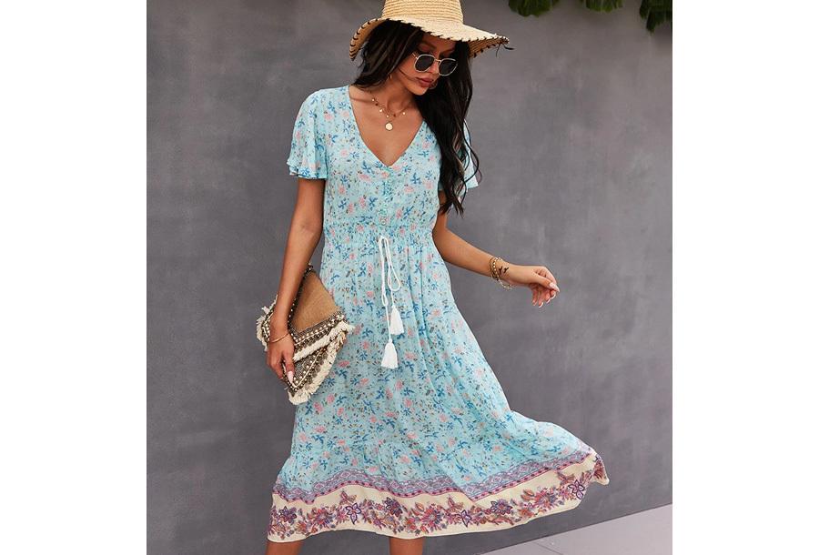 Boho midi dress Maat S - Blauw