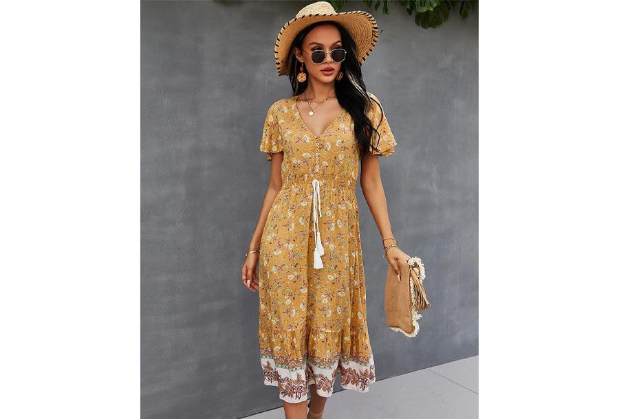 Boho midi dress Maat L - Geel