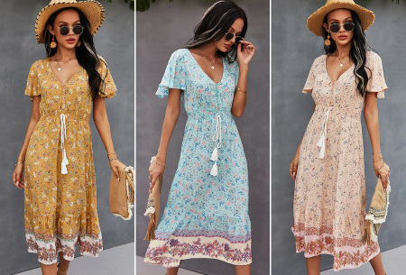 Boho midi dress | Kleurrijke zomerjurk met bohemian print