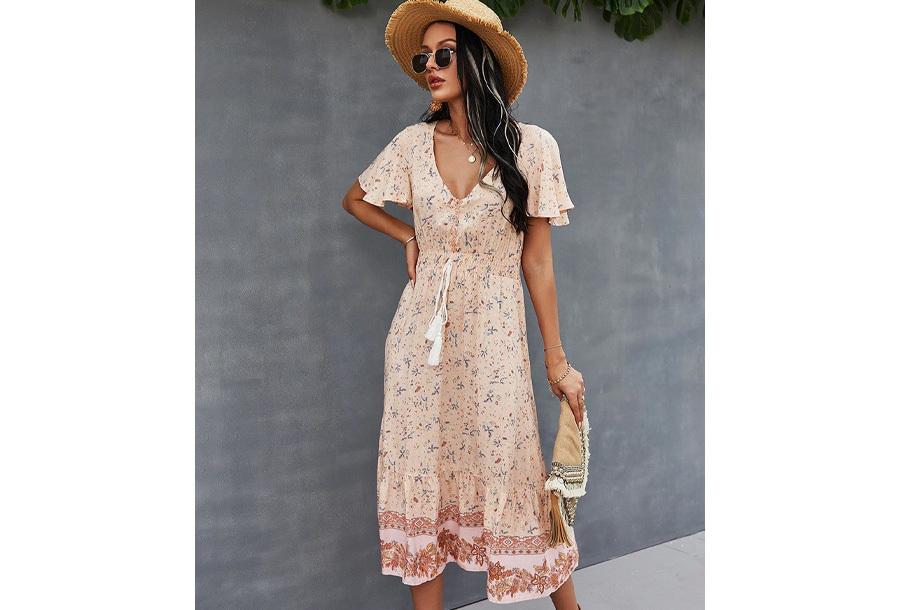 Boho midi dress Maat S - Roze