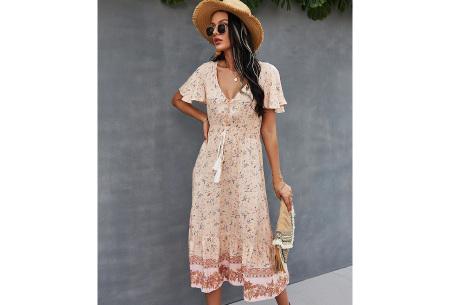 Boho midi dress | Kleurrijke zomerjurk met bohemian print Roze