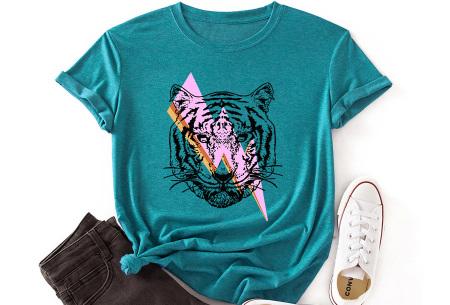 Tiger shirt   Dames T-shirt met tijgeropdruk - in 9 kleuren Aqua