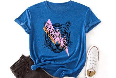Tiger shirt   Dames T-shirt met tijgeropdruk - in 9 kleuren Blauw