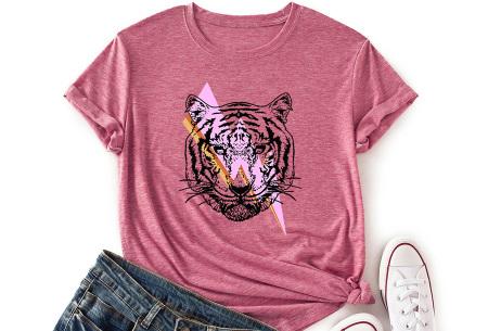 Tiger shirt   Dames T-shirt met tijgeropdruk - in 9 kleuren Framboos