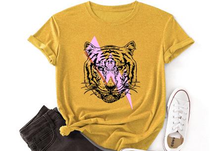 Tiger shirt   Dames T-shirt met tijgeropdruk - in 9 kleuren Geel