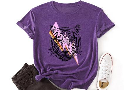 Tiger shirt   Dames T-shirt met tijgeropdruk - in 9 kleuren Paars