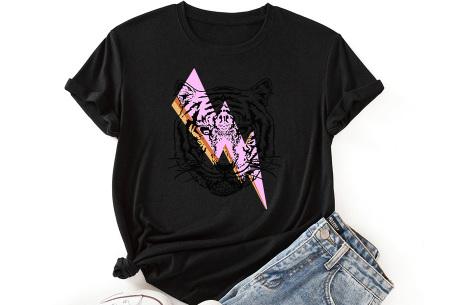 Tiger shirt   Dames T-shirt met tijgeropdruk - in 9 kleuren Zwart