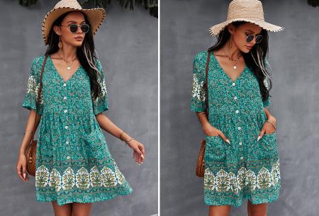 Ibiza tuniek   Korte zomerjurk met hippe print Turquoise