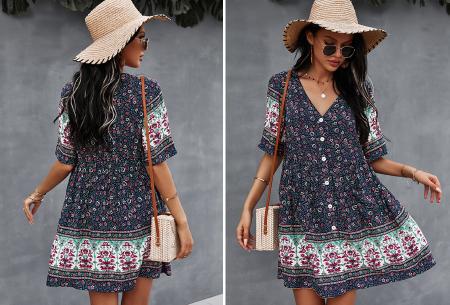 Ibiza tuniek   Korte zomerjurk met hippe print