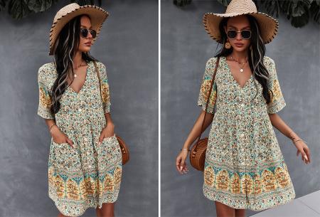Ibiza tuniek   Korte zomerjurk met hippe print Geel