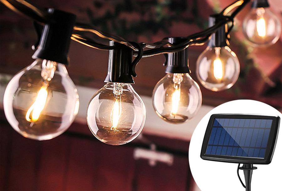 Lampjes slinger op zonne-energie
