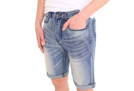 Stretchy korte broek voor heren   Super comfortabele zomerbroek voor mannen Dark washed