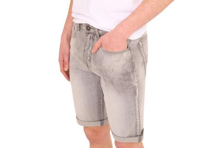 Stretchy korte broek voor heren   Super comfortabele zomerbroek voor mannen Grey denim