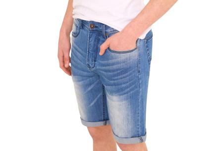 Stretchy korte broek voor heren   Super comfortabele zomerbroek voor mannen Medium washed