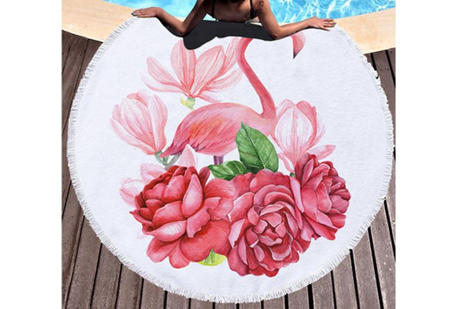 Rond strandlaken Flowers & Flamingo's