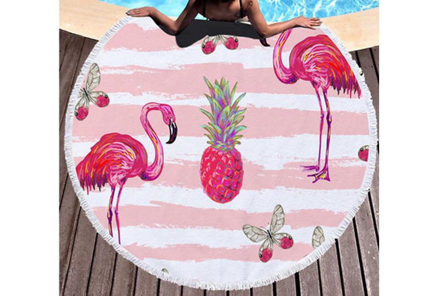 Rond strandlaken Pineapples & Flamingo's
