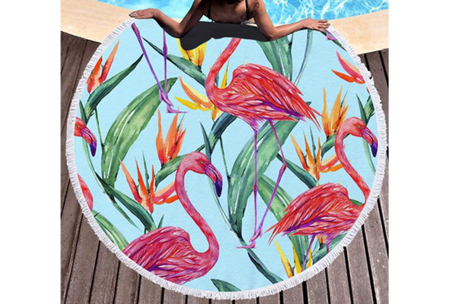 Rond strandlaken Flamingo's