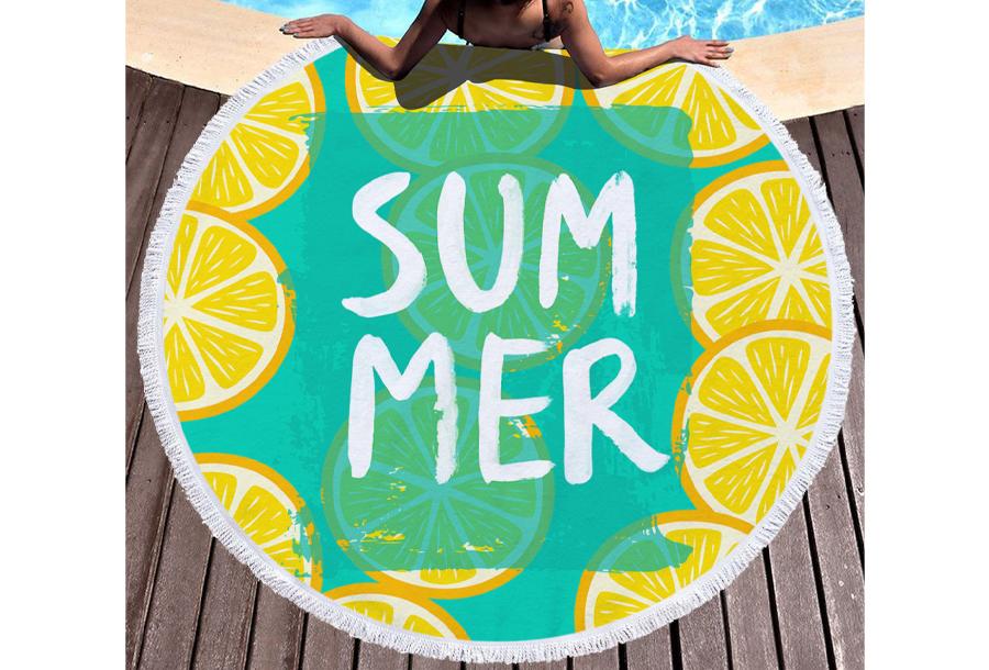 Rond strandlaken Summer - lemons