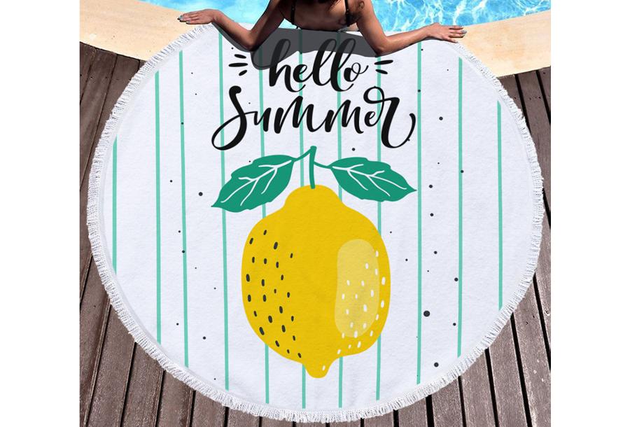 Rond strandlaken Hello summer - lemon