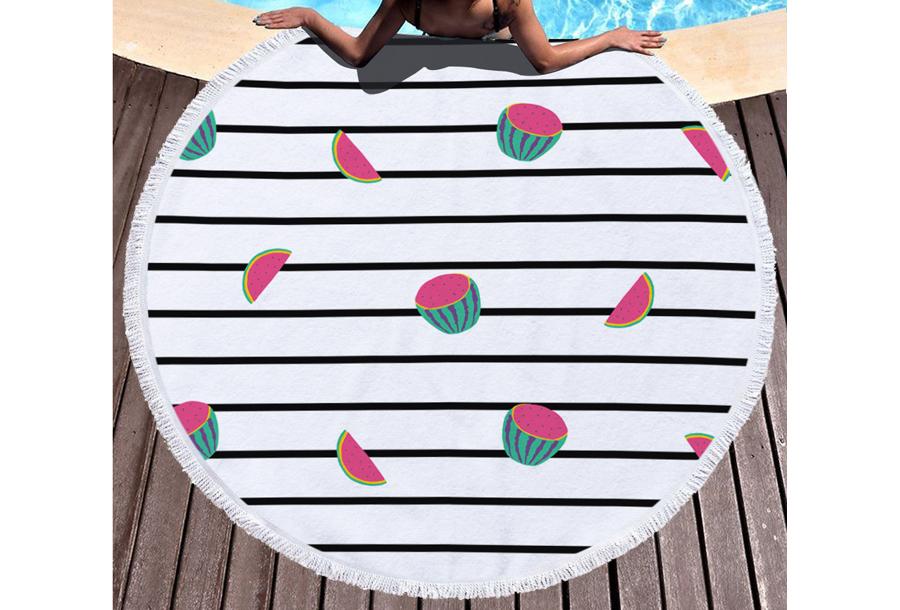 Rond strandlaken Watermelons & stripes