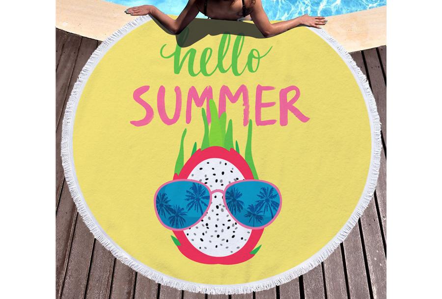 Rond strandlaken Hello summer - dragonfruit
