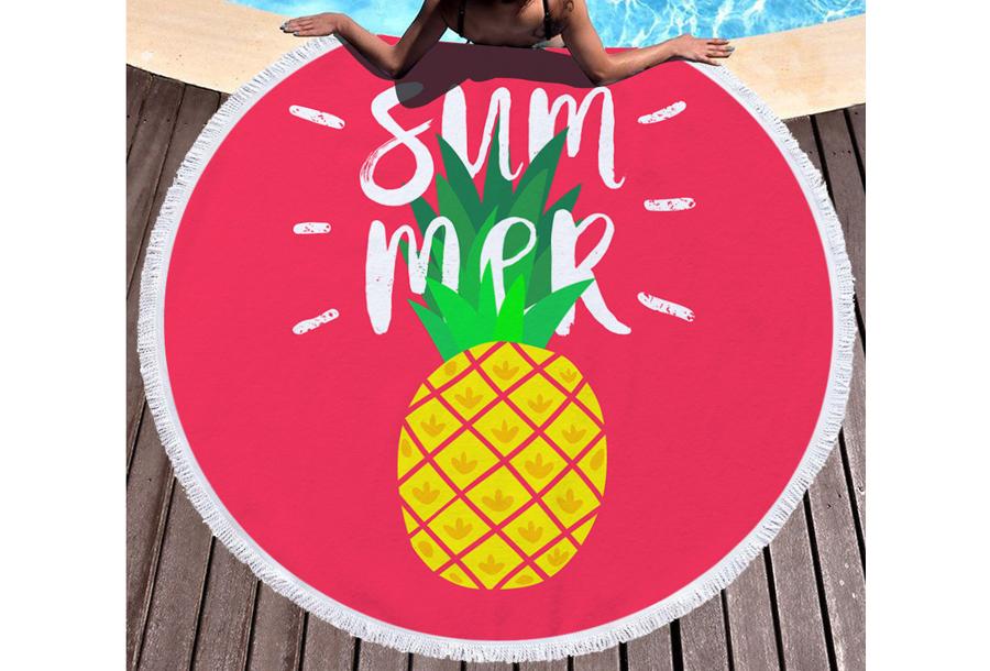 Rond strandlaken Summer - pineapple