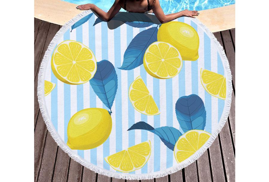 Rond strandlaken Lemons & stripes