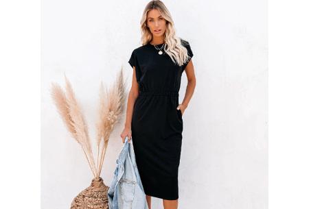 Pocket midi jurk | Stijlvolle getailleerde lange jurk met zakken Zwart
