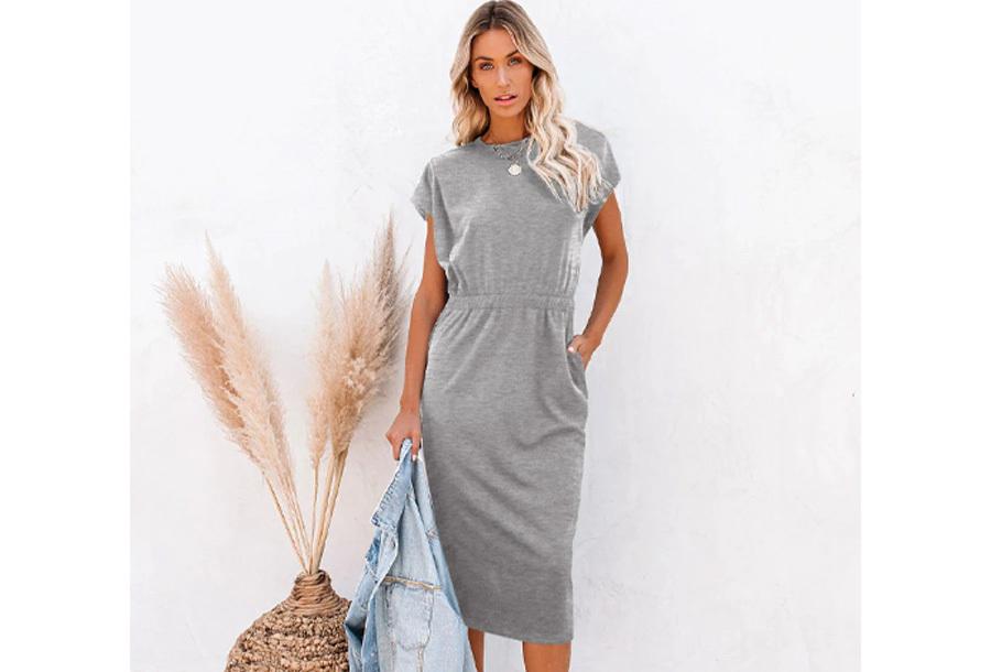 Pocket midi jurk Maat XL - Lichtgrijs