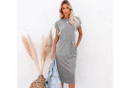 Pocket midi jurk | Stijlvolle getailleerde lange jurk met zakken Lichtgrijs