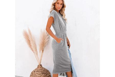 Pocket midi jurk | Stijlvolle getailleerde lange jurk met zakken