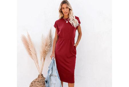 Pocket midi jurk | Stijlvolle getailleerde lange jurk met zakken Wijnrood