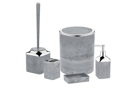 Herzberg badkameraccessoires   5-delige bijpassende set  - diverse uitvoeringen  Grijs - steen marmerlook