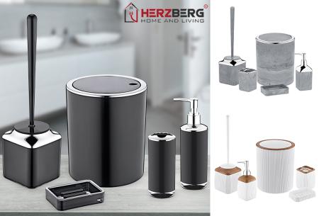 Herzberg badkameraccessoires   5-delige bijpassende set  - diverse uitvoeringen