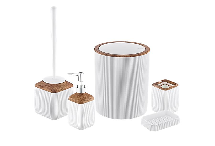 5-delige badkamerset Wit - houtlook