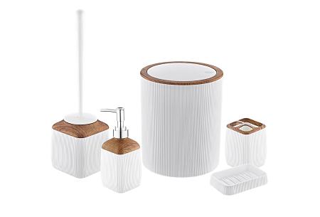 Herzberg badkameraccessoires   5-delige bijpassende set  - diverse uitvoeringen  Wit - houtlook