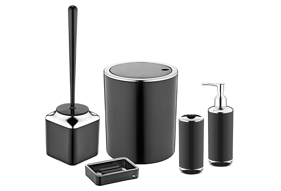 5-delige badkamerset Zwart - chroomlook