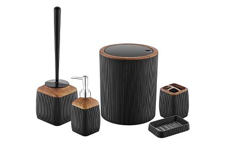 Herzberg badkameraccessoires   5-delige bijpassende set  - diverse uitvoeringen  Zwart - houtlook